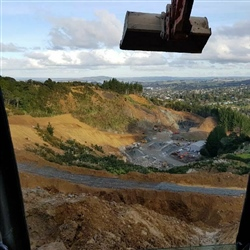 Digger looking over Western Hills Quarry