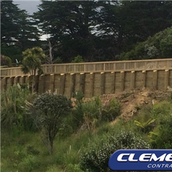 Timber retaining wall & railing on Tutukaka Coast